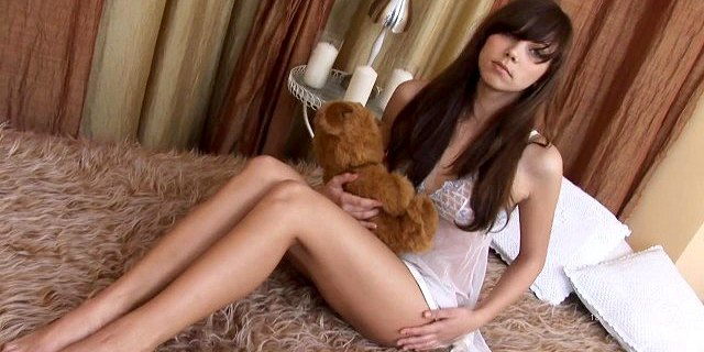 Just 18 Russian beautiful teen girl stripping on bed