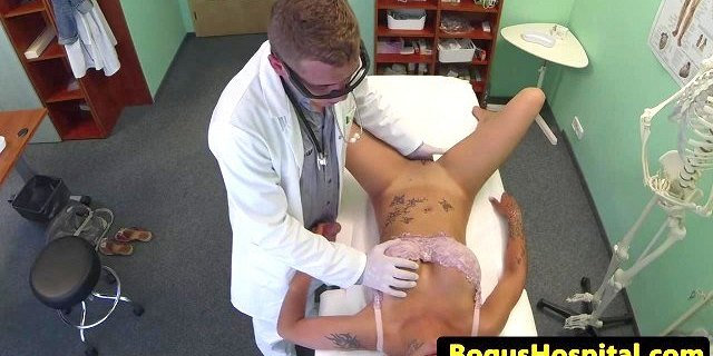 Blonde patient fingered and fucked by doctor