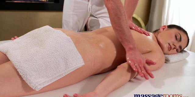 Massage Rooms Hot brunette has squirting orgasm