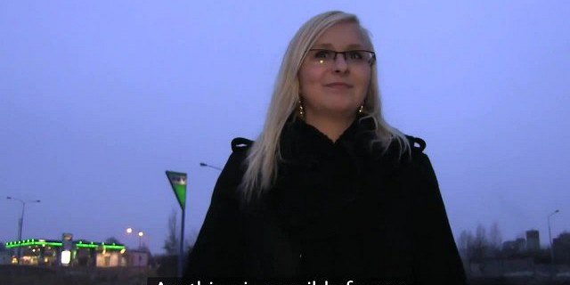 Outdoor fucking with sexy blonde in glasses