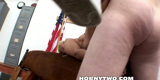Chubby blonde milf fucked deep by stepson in changing room
