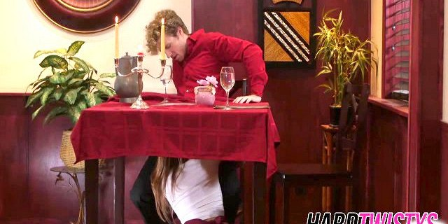 Naughty bitch swallows a stiff schlong under the table