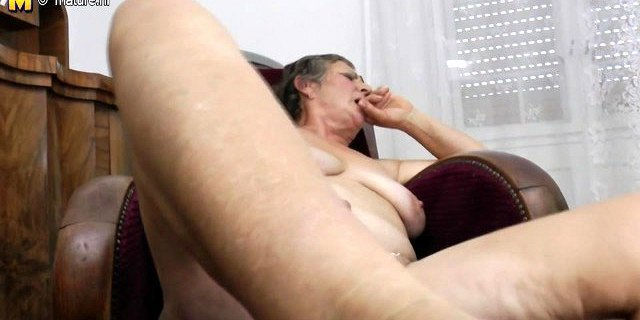 Old grandma with hungry hairy old cunt