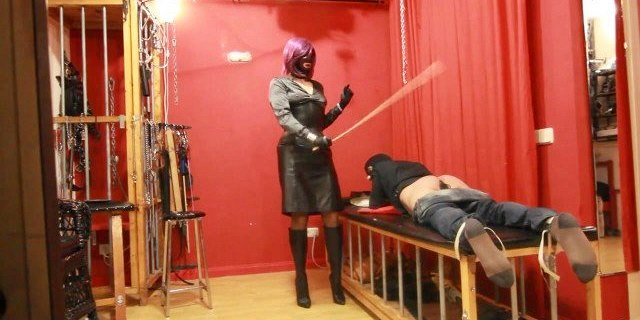 Spanking with my leather belt