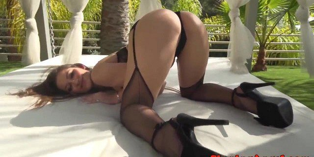 Glam lingerie model railed in tight pussy