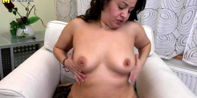 Chubby MOM with hairy cunt and big black dildo