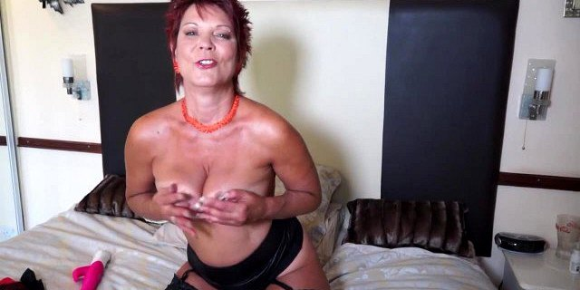 So dirty old granny with so big pink dildo