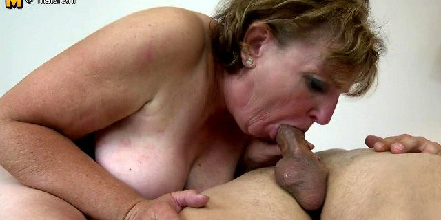 Old granny fucking and sucking young cock