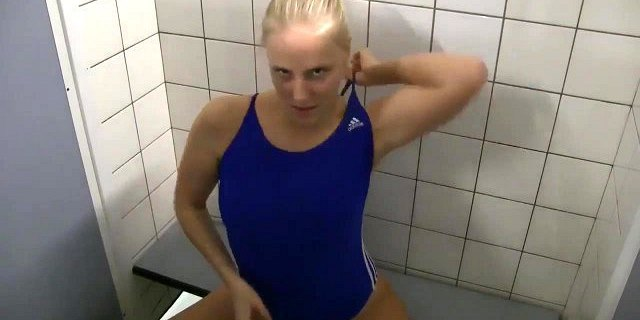 fucked in pool changing room in one piece bathing suit