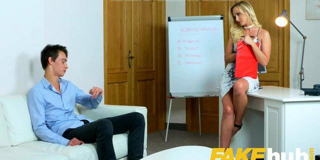 Female Agent Studs body makes sexy blonde agent cock hungry