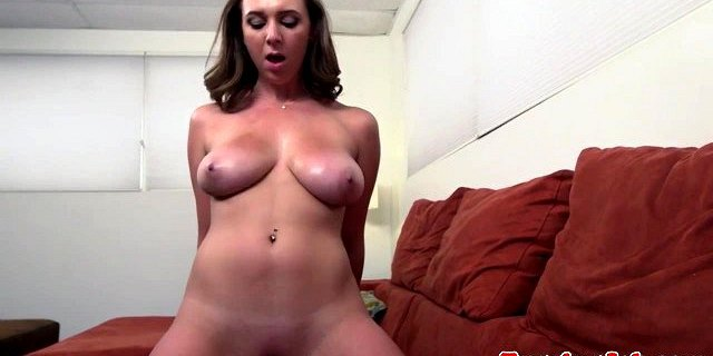 Bigtitted babe jerks and grinds on big cock