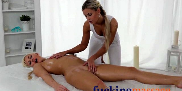 Massage Rooms Horny young lesbians enjoy oily finger fucking