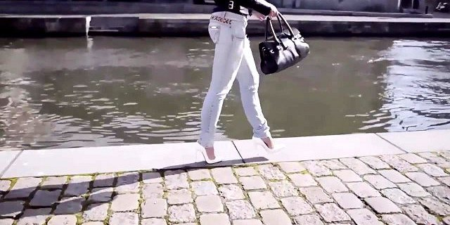 sexy babe in jeans ass show and feetarch in louboutin heels