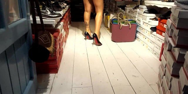 Perfect sexy legs, hot ass in shorts heels