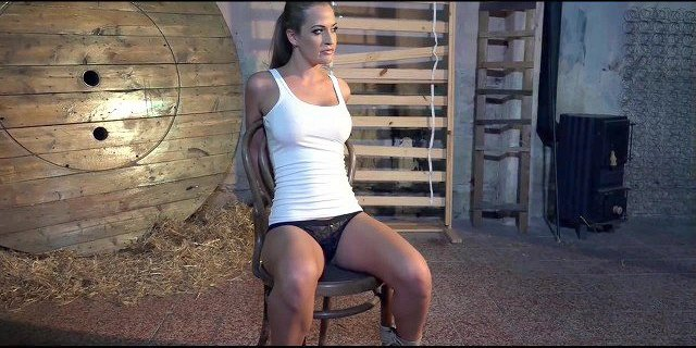 Nicole Vice chair-tied mouth-stuffed stripped vibed