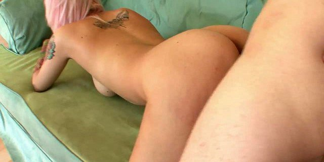 Pink hair cutie gets hard thrusting on the couch