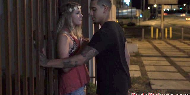 Hardfucked teen babe screwed in public