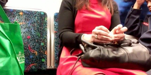 Sexy granny face and legs on the train