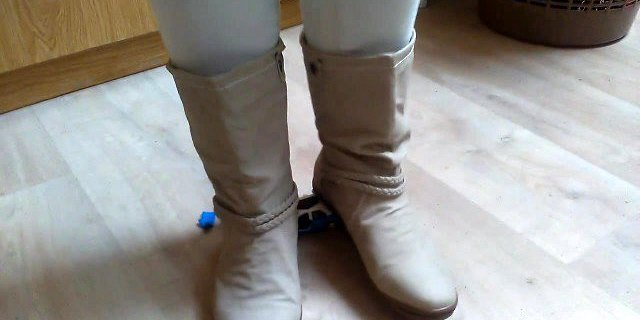 Beige boots crush toy