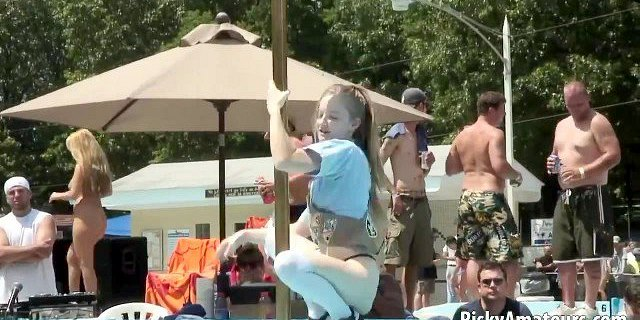 Amateur blonde is on the stage teasing the crowd