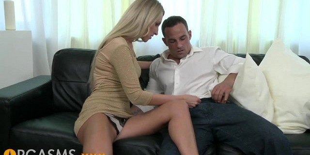 ORGASMS Tall shaved blonde enjoys passionate loving on the