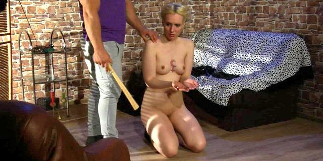 Pretty girl gets whipping, hot waxing and more.