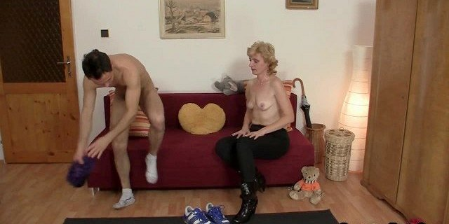 Skinny granny is picked up for play