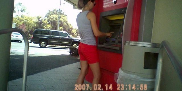 hottie at the atm