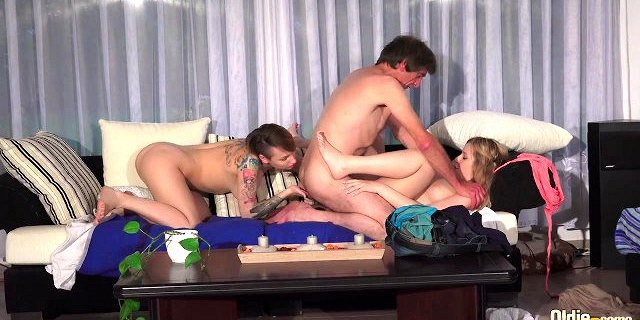 Old and Young - Grandpa Fucks two young girlfriends BFF sex