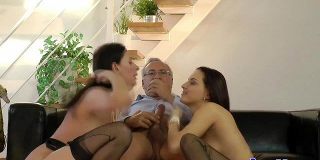 Glamcore euro cougar shares cock with babe