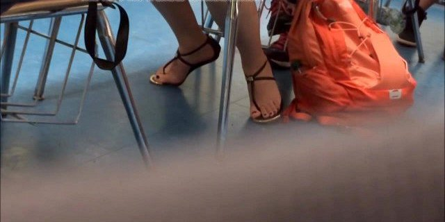 Candid Asian College Student Feet in Sandals