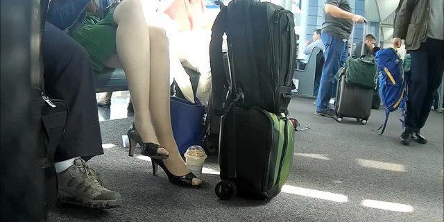 Candid Legs Feet Pantyhose Nylons Open Toed Airport
