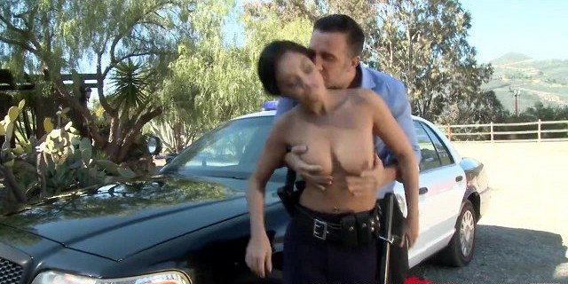 Busty Latina cop Gives some roadside assistance