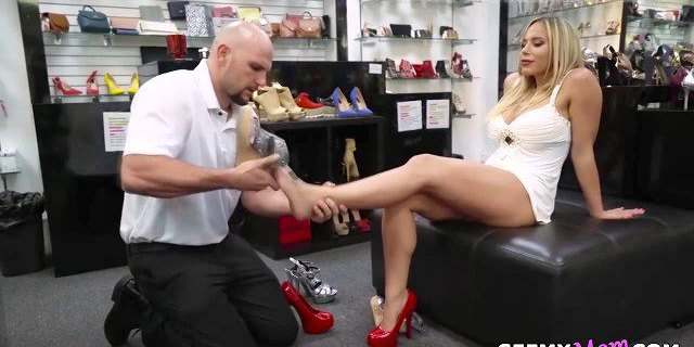 Gold digger wife cheats with the shoe shop assistant!
