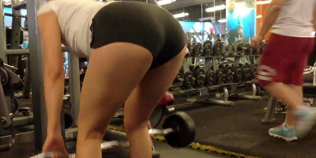 Chinese Girl Working Out in Booty Shorts