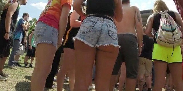 Hot blonde in booty shorts