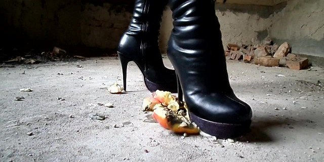 Crush with high-heeled boots