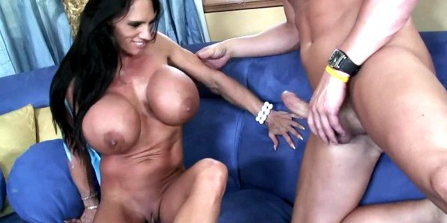 Big tits horny brunette having sex on the couch