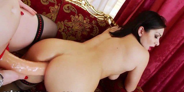 Strapped Lesbians Ass fuck with HUGE Fake Cock