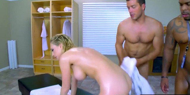 Two massive meat poles will plug all of her wet fuck holes