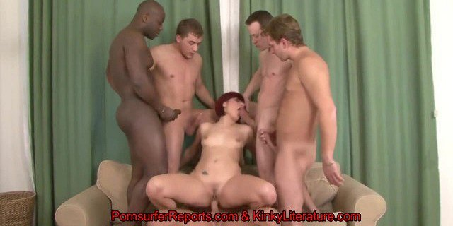 Lucy Ball - Redhead Stuffed With 5 Impatient Battering Rams