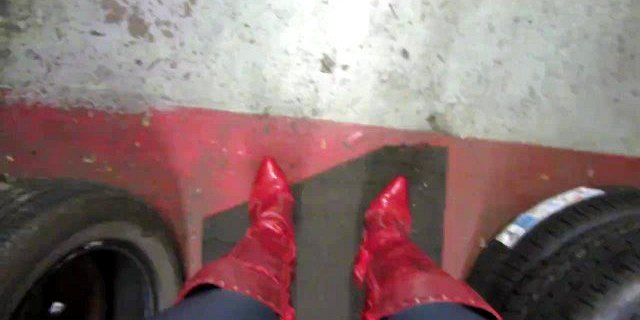 New skintight leggings red stiletto thigh boots strutting