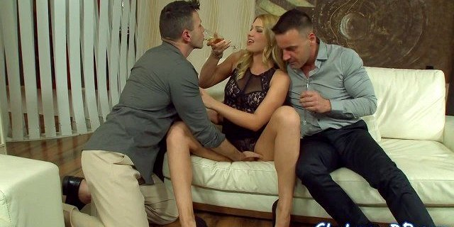 Busty european babe gets double penetrated
