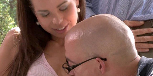 Old husband watching his young wife fucking