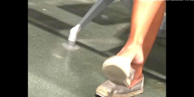 Candid Shoeplay Sexy Feet Dangling Face at Airport
