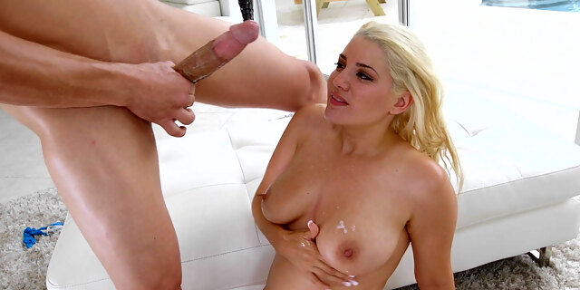 Natural tits covered in jizz