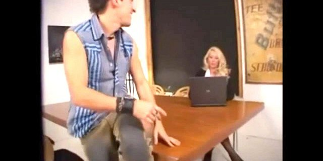Gorgeous German blonde in stockings nailed on the table