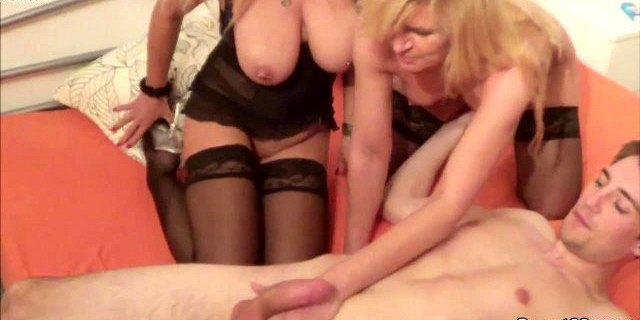 German Young Boy Caught Mom and Aunt and get Fuck by them