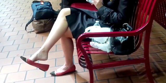 Candid blonde Shoeplay Dangling Feet at Station