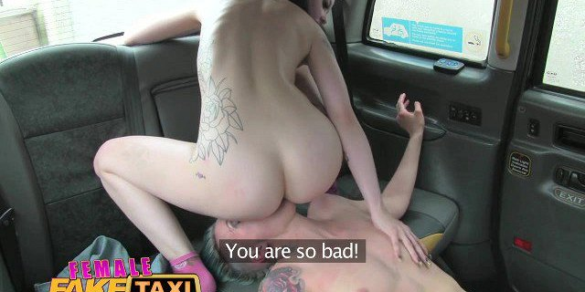 Female Fake Taxi Lesbian tight pussy fuck with a strap on
